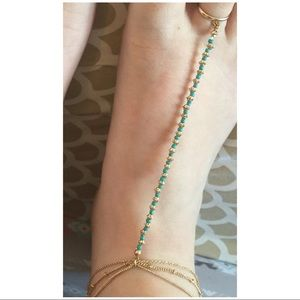 Jewelry - Boho gold and turquoise anklet with toe ring